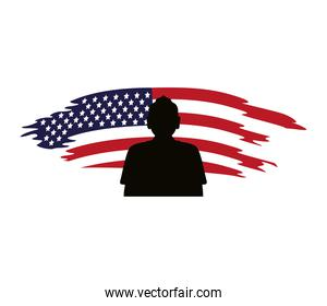 soldier silhouette figure with usa flag painted