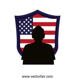 soldier silhouette figure with usa flag in shield