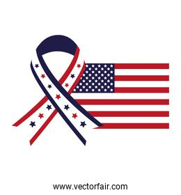 united states of america flag with ribbon campaign