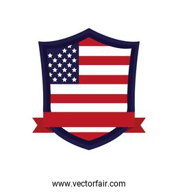 united states of america flag in shield with ribbon