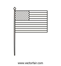 united states of america flag in pole waving line style icon
