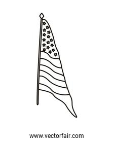 united states of america flag in pole line style icon