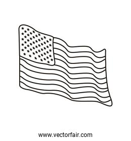 united states of america flag waving line style icon