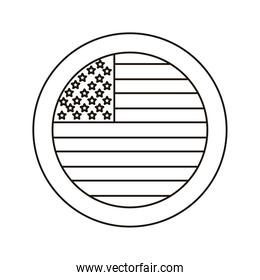 united states of america flag circular stamp line style icon