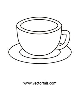 coffee cup drink in dish line style icon