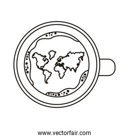 coffee cup drink with world map airview line style icon