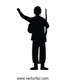 soldier with rifle silhouette figure isolated icon