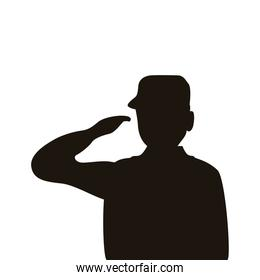 military officer saludating silhouette isolated icon