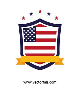 united states of america flag in shield