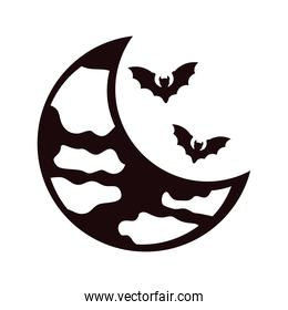 halloween bats flying with crescent moon silhouettes