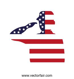 military officer saludating with usa flag silhouette
