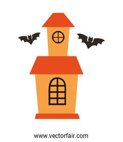 halloween haunted castle building with bats flying