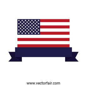united states of america flag with ribbon frame