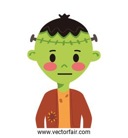 little boy with frankenstein disguise character