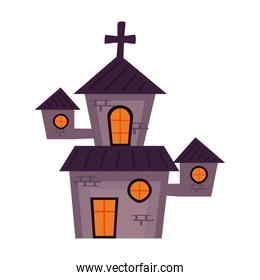 halloween haunted church building icon
