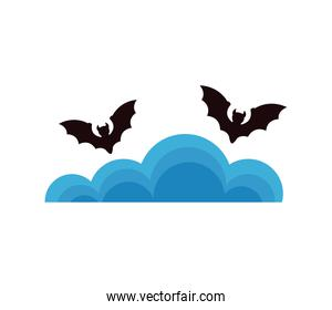 halloween bats flying with clouds sky scene