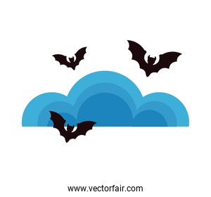 halloween bats flying with clouds sky
