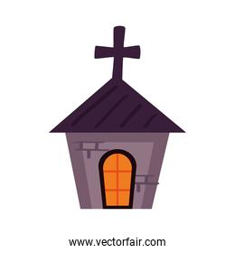 halloween haunted church tower icon