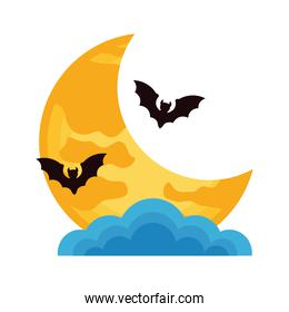 halloween bats flying with moon crescent and clouds