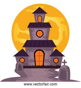 halloween haunted castle building with full moon scene