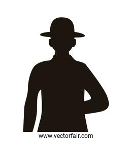 military officer with hat silhouette isolated icon