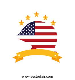united states of america flag in helmet with ribbon
