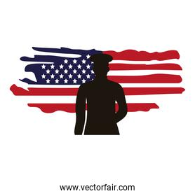 military officer in usa flag painted silhouette