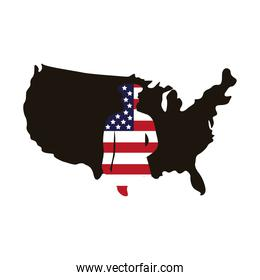 military officer with usa flag silhouette in map