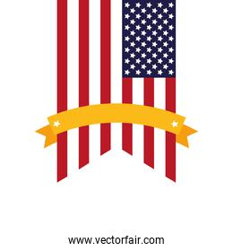 united states of america flag garland with ribbon frame