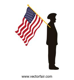 military officer silhouette with usa flag waving