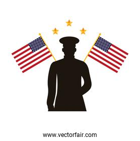 military officer silhouette with usa flags