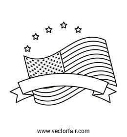 united states of america flag with ribbon and stars line style icon