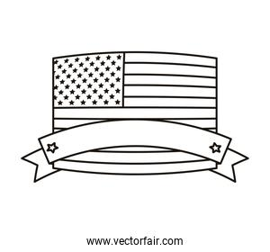 united states of america flag with tape frame line style icon