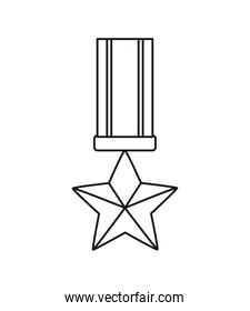 military medal with star line style icon