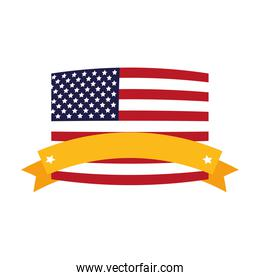 united states of america flag with ribbon