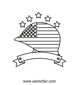 united states of america flag in helmet with ribbon line style icon