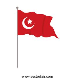 turkey flag country patriotic in pole