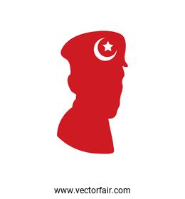 soldier turkey silhouette with flag patriotic icon