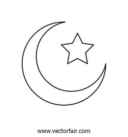 crescent moon and star islam symbol line style icon