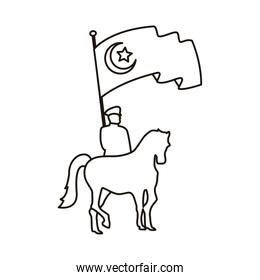 turkey soldier in horse with flag country patriotic line style icon