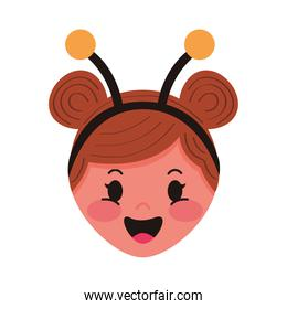 little girl with bee disguise head character