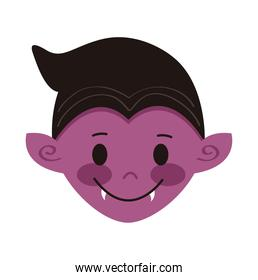little boy with dracula disguise head character