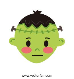 little boy with frankenstein disguise head character