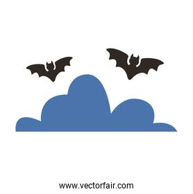 halloween bats flying with clouds