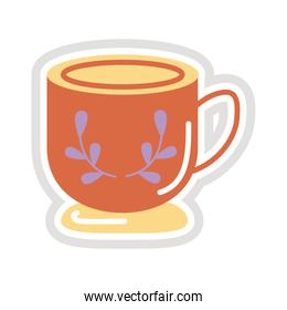 cup with leafs sticker flat style icon