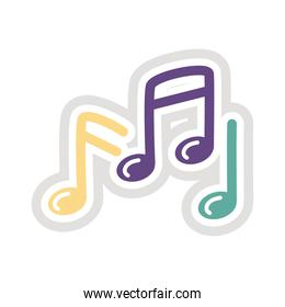 music notes sticker flat style icon