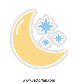 moon and stars sticker flat style icon