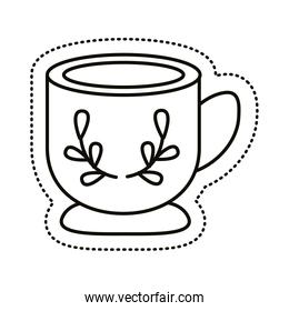 cup with leafs sticker line style icon