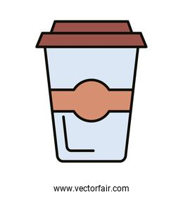 coffee in plastic pot line and fill icon