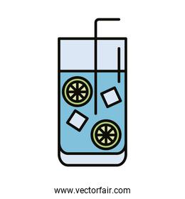 beverage with ice cubes and lemon in glass line and fill style icon